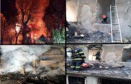 (FOTO) Update- Incendiu devastator la Vulcana Băi. O femeie de 70 de ani, prinsă în mijlocul flăcărilor, a decedat