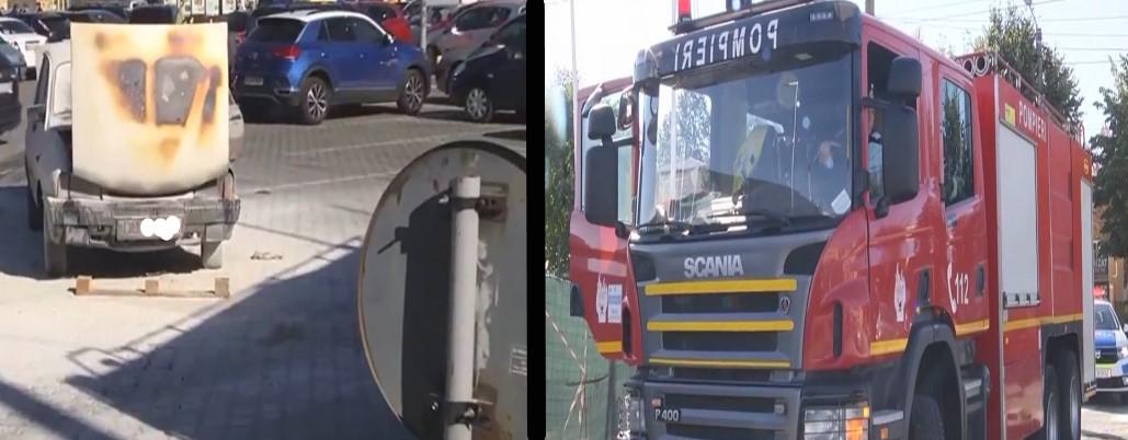 (FOTO)Târgoviște - Pericol maxim! Mașină cuprinsă de flăcări, în parcarea unui supermarket
