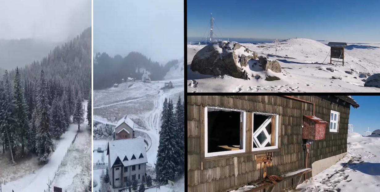 (FOTO) Iarnă, cod galben de ninsori și probleme, în Bucegi (21 noiembrie 2020)