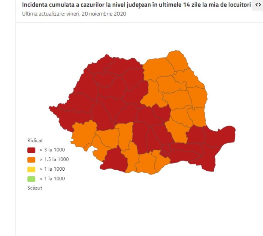 COVID-19, 20 noiembrie: Peste 9000 de cazuri noi. Pacienți transferați în străinătate. România se colorează în roșu (+ date jud. DB)