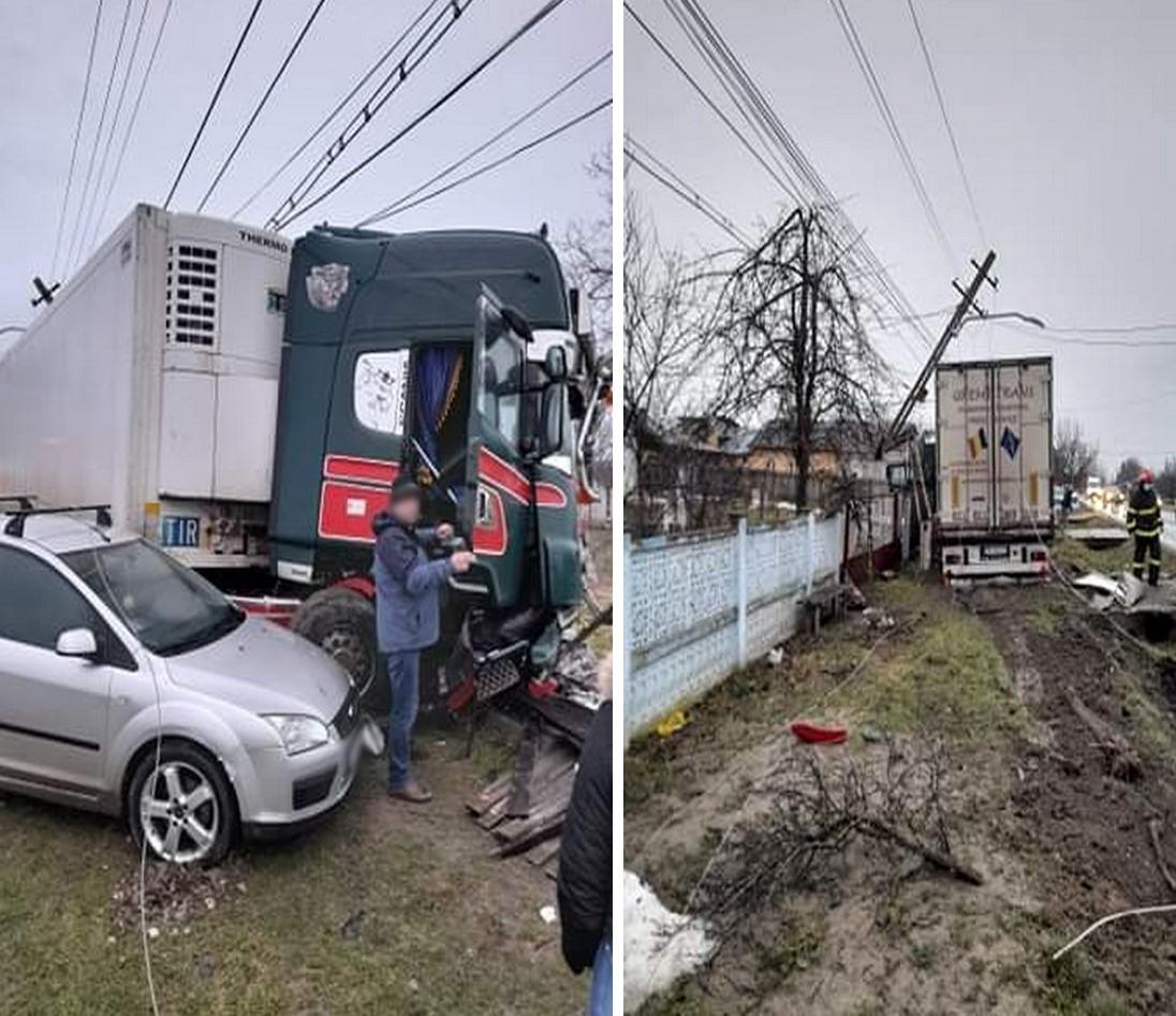 Dezastru pe șoșea (DN 71, Crângași)- Un decedat și o persoană rănită. Patru autovehicule avariate, rețea de înaltă tensiune întreruptă