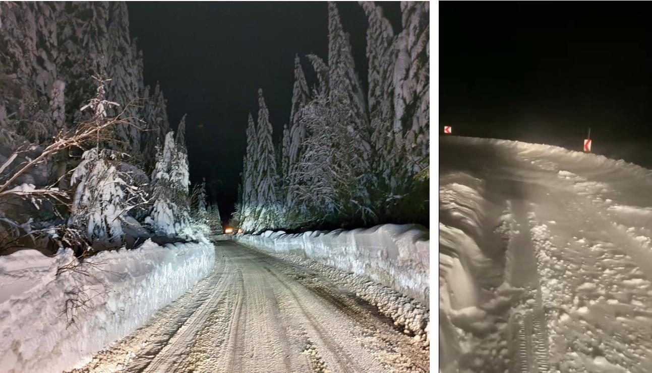 Transbucegi (DJ 713) este închis circulației rutiere, din cauza condițiilor meteo. Cum arată drumul.