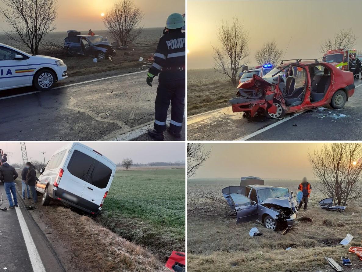 DN 71-Mircea Vodă (jud.DB)-Impact devastator, între 2 autoturisme și 1 microbuz. Cinci persoane rănite, transportate la spital