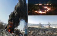 Inconștienți! (Foto-Video) Focuri de vegetație, puse intenționat, pun în pericol oameni și bunuri, lângă Târgoviște (27 februarie)