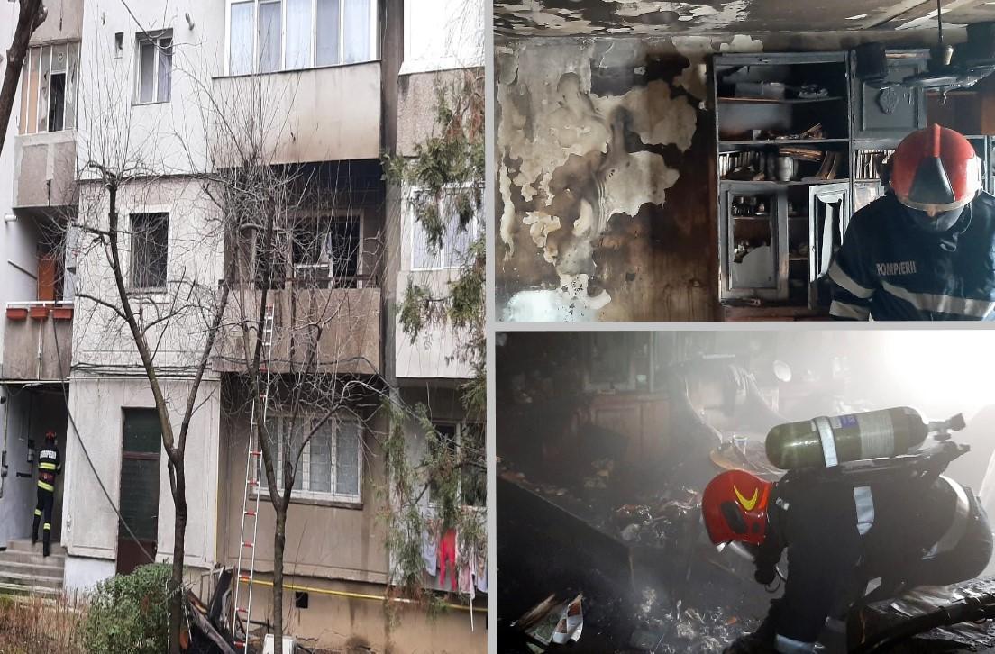 (video) Panică într-un bloc din Târgoviște, după ce un apartament a luat foc. O femeie a fost evacuată de vecini, din calea flăcărilor