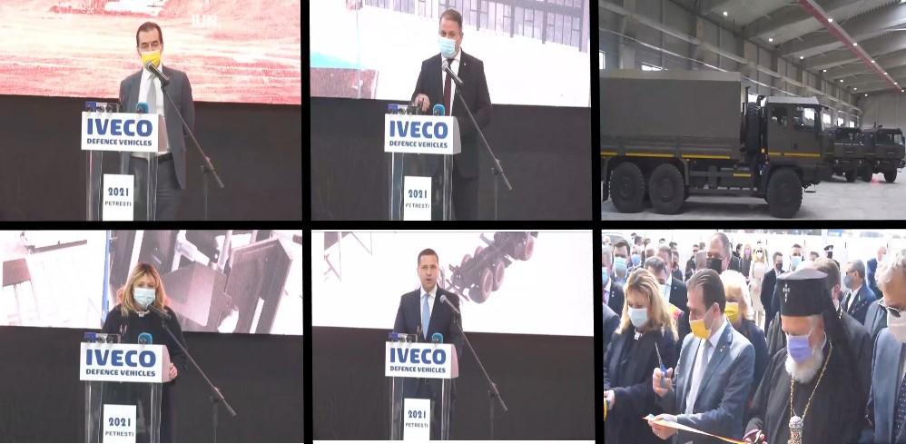 (Foto) Înghesuială mare de politicieni, la inaugurarea fabricii de autocamioane militare de la Petrești (județ Dâmbovița)