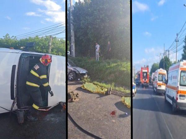 ( Video) DN 71- Aninoasa (jud.DB)- Tragedie de proporții. Cel puțin 2 persoane au decedat, după coliziunea dintre un autoturism și un microbuz ce transporta școlari